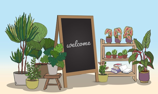 Cartoon potted plants set with black board for writing messages