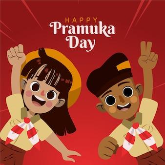 Cartoon pramuka day illustration