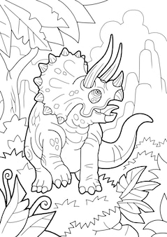 Cartoon prehistoric dinosaur triceratops, coloring book, funny illustration