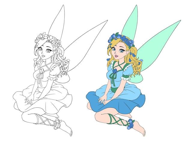 곱슬 금발 머리와 파란 날개를 가진 만화 예쁜 요정. 앉아있는 포즈. 꽃 화환.