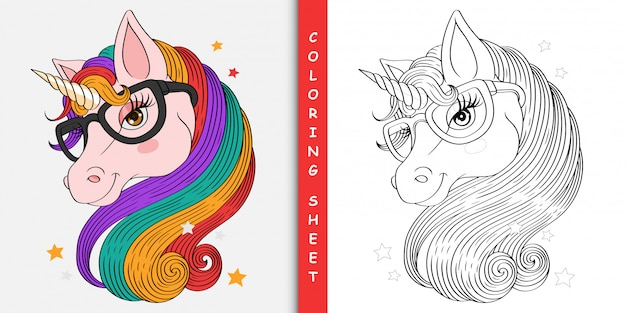 Cartoon pretty unicorn, coloring sheet