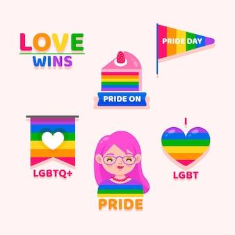 Cartoon pride day badge collection