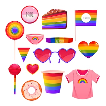 Cartoon pride day elements collection