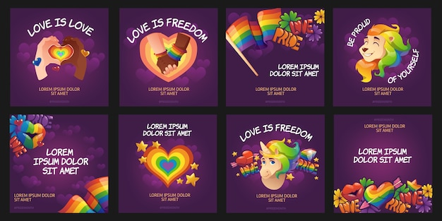 Cartoon pride day instagram posts collection