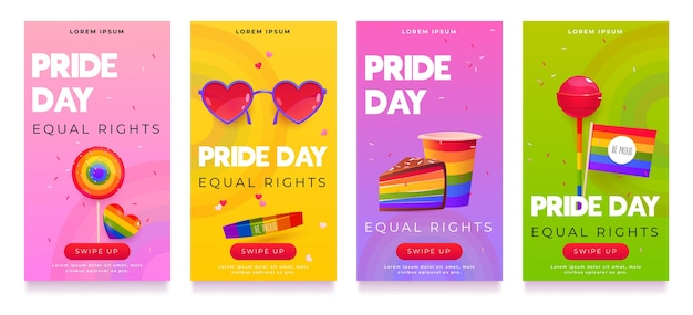 Cartoon pride day instagram stories collection