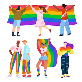 Cartoon pride day people collection