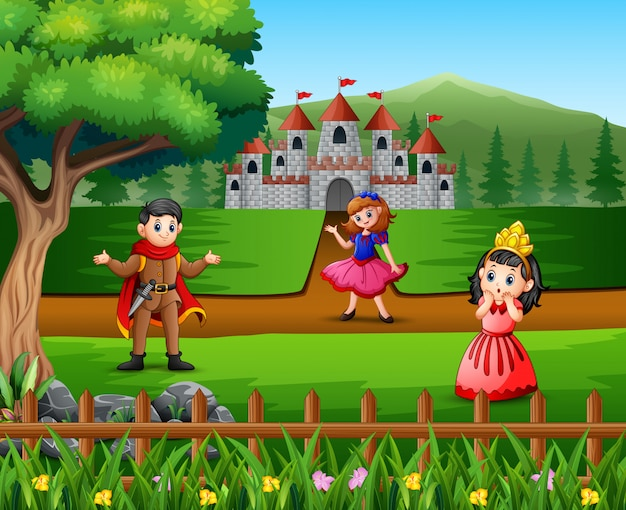 Cartoon prince and princess in front of the castle