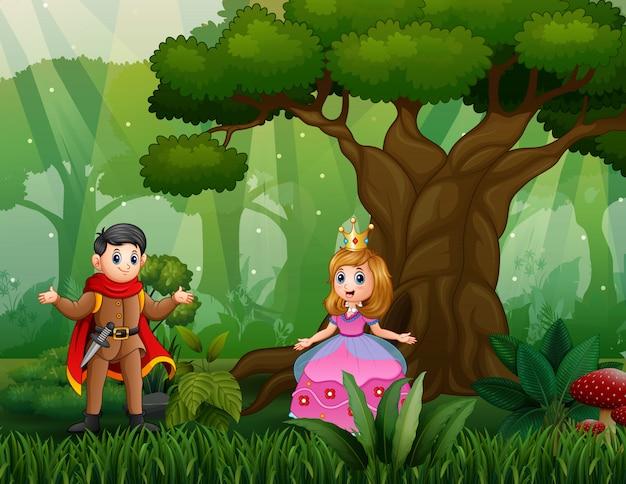 Cartoon a prince and princess at the wood