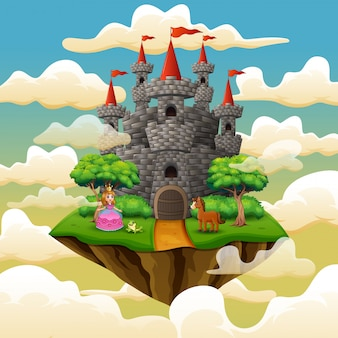 Cartoon princess in front a castle on the cloud