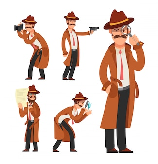 Cartoon private detective. police inspector character set