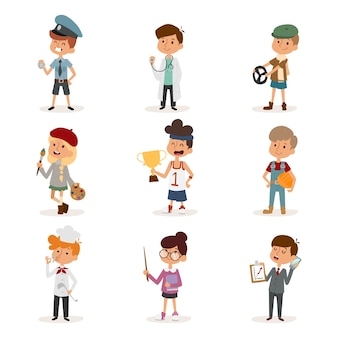 Cartoon profession kids children  set illustration person childhood painter sportsman chef builder policeman doctor artist driver