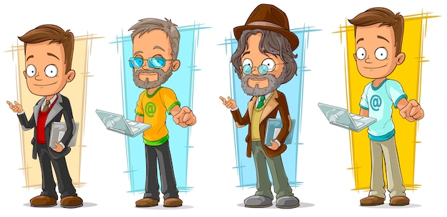 Cartoon programmer with laptop character set