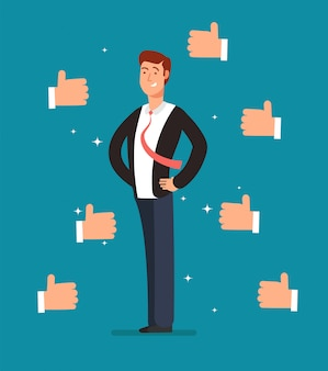Cartoon proud employee with many thumbs up hands of businessmen