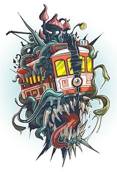 Мультяшный психоделический старый ретро красный трамвай с чудовищными клыками, глазом, щупальцами и большими грибами на крыше. изолированные векторные тату на белом фоне.