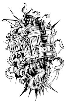 Мультяшный психоделический ретро монстр трамвай