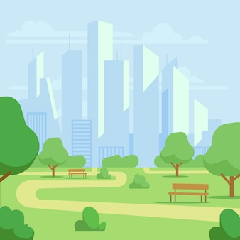 Cartoon public city park with skyscrapers cityscape illustration. green park landscape