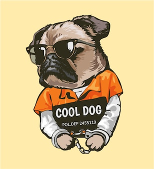 Cartoon pug dog in prisoner costume with sign illustration