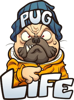 Cartoon pug dog with angry face wearing a beanie and the text pug life