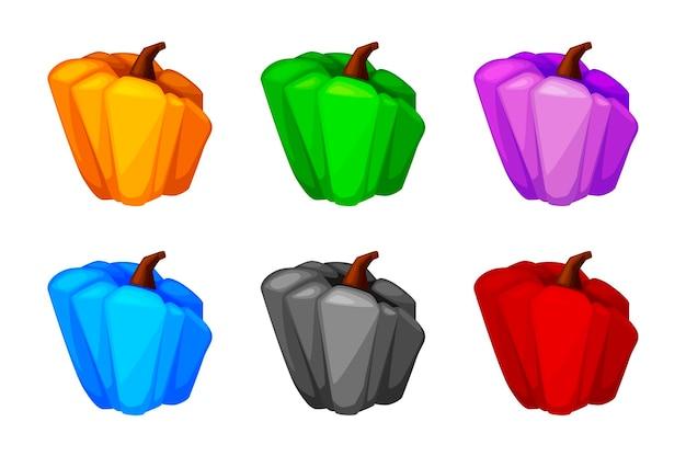 Мультяшный тыква цветной, изолированный яркий овощ для пользовательского интерфейса игры.