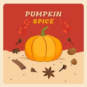Cartoon pumpkin spice illustration