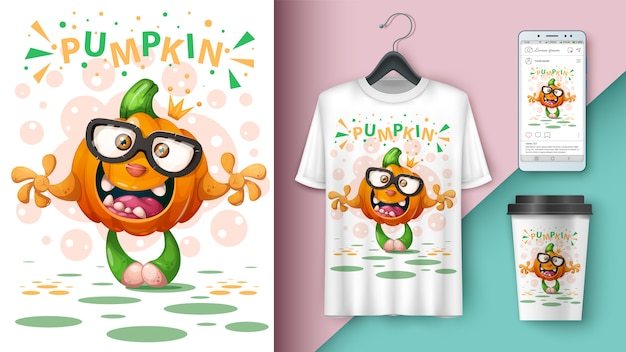 Cartoon pumpkin - t-shirt design