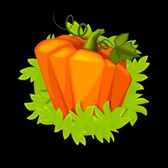 Мультяшная тыква с травой, изолированным овощем для пользовательского интерфейса игры.
