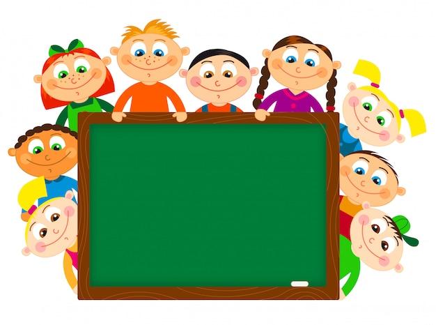 Мультяшные ученики возле школьной доски