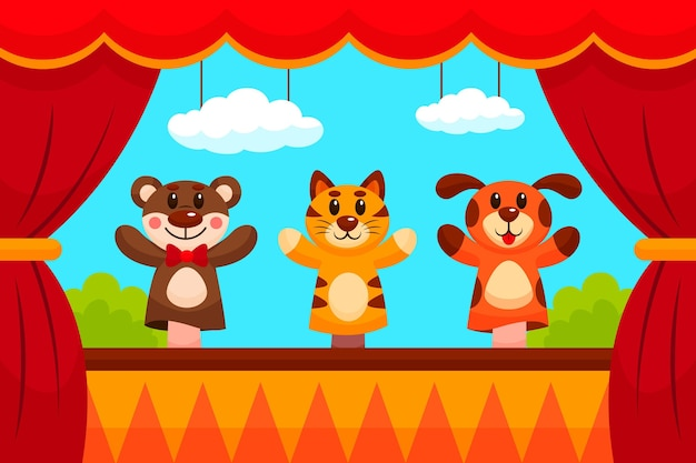 Cartoon puppet show background