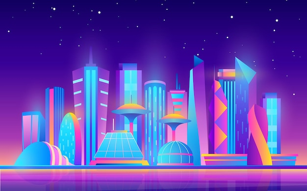 Мультяшный фиолетовый будущий современный городской пейзаж с городскими небоскребами и неоновыми огнями