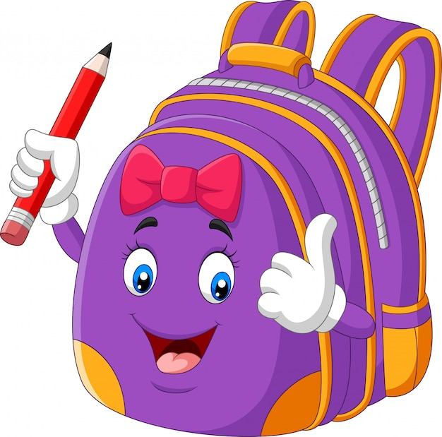Cartoon purple school backpack holding pencil and giving thumbs up