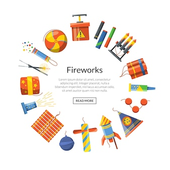 Cartoon pyrotechnics in circle form with place for text in center round illustration