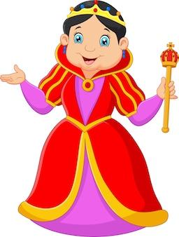 Cartoon queen holding scepter