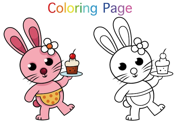 Cartoon rabbit character coloring page activity for children vector illustration