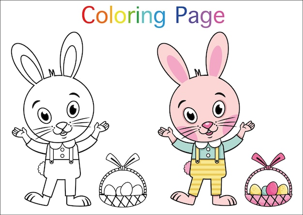 Cartoon rabbit for coloring page activity vector illustration