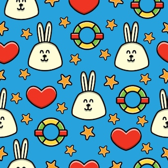 Cartoon rabbit doodle seamless pattern