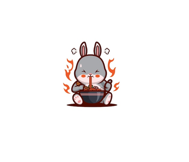Мультфильм кролик ест острую лапшу рамэн Premium векторы