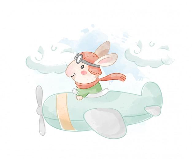 飛行機のイラストを飛んでいる漫画のウサギ