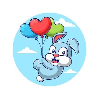ハート型の風船で飛んでいる漫画のウサギ