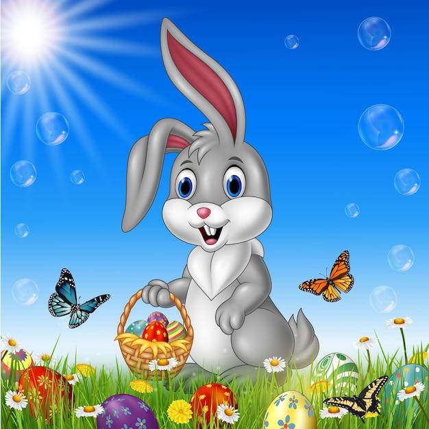 부활절 바구니를 들고 만화 토끼