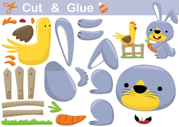 Cartoon of rabbit holding carrot with chicken perch on fence. education paper game for children. cutout and gluing
