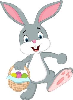 Cartoon rabbit holding an easter basket