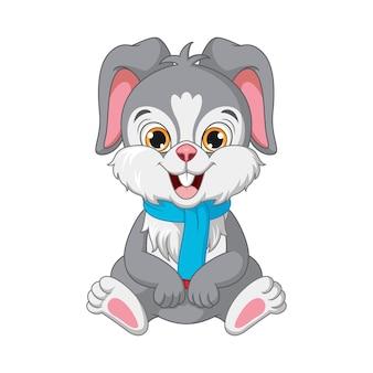 座っているスカーフの漫画のウサギ