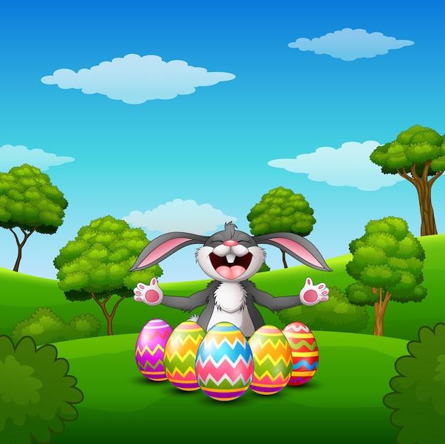 Cartoon rabbit laughing