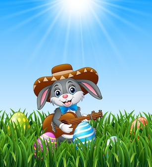Cartoon rabbit mexican playing guitar