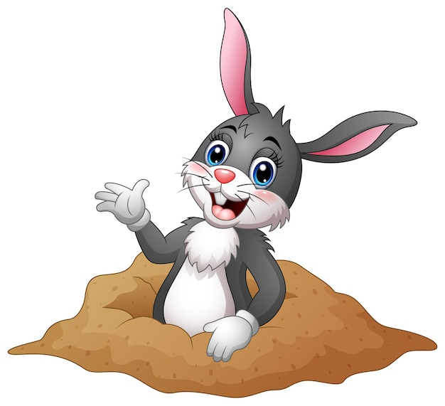 Cartoon rabbit out of holes in the ground