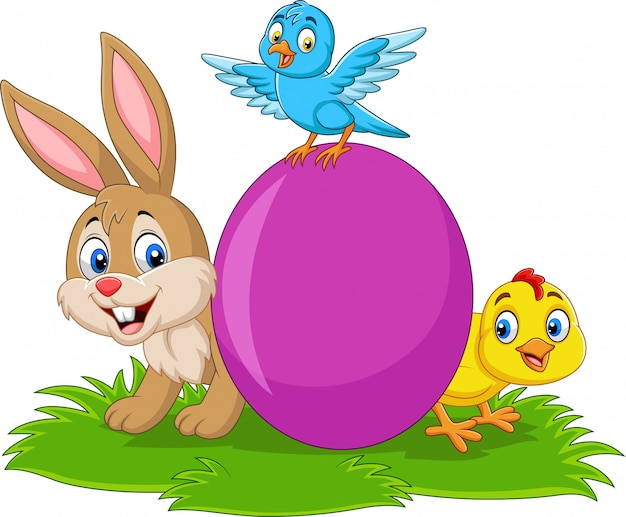 Cartoon rabbit with baby chick, bluebird and egg on the grass