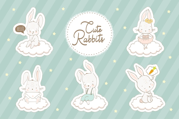 Cartoon rabbits stickers collection