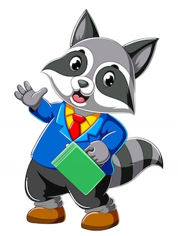 Cartoon raccoon in full suit and holding suit case