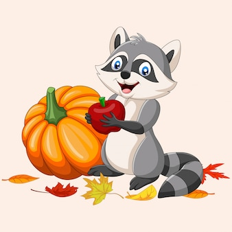 Cartoon raccoon holding red apple and pumpkin