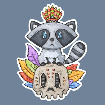 Cartoon raccoon sits on the skull.